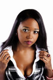 Attractive African American Woman Plaid Vest White Shirt Stock Image
