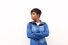 Attractive african american woman standing with arms crossed Royalty Free Stock Photos