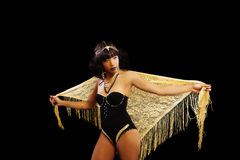 Attractive African American Woman Standing Leotard Shawl Royalty Free Stock Images