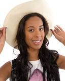 Attractive African American woman in a white hat Royalty Free Stock Photos