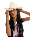 Attractive African American woman in a white hat Stock Photography