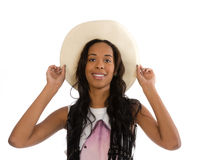 Attractive African American woman in a white hat Royalty Free Stock Image