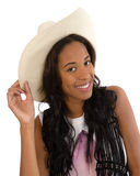 Attractive African American woman in a white hat Stock Images