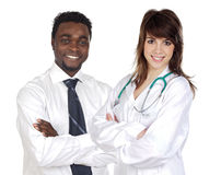 Attractive african businessman and pretty doctor g Stock Image