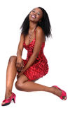 Attractive African Girl In Red Stock Photography