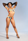 Attractive African girl in retro bikini Royalty Free Stock Photo