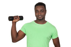 Attractive african man lifting weights Royalty Free Stock Photo