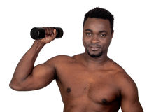 Attractive african man lifting weights Stock Photography