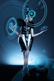 Attractive african woman in capsule Royalty Free Stock Image