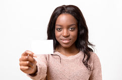 Attractive African woman with her Business card royalty free stock photos