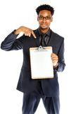 Attractive afro-american business man posing in studio Royalty Free Stock Photography