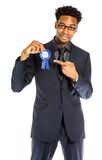 Attractive afro-american business man posing in studio Royalty Free Stock Photo