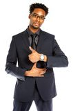 Attractive afro-american business man posing in studio royalty free stock image