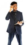 Attractive afro-american business man posing in studio stock images