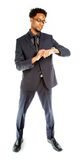 Attractive afro-american business man posing in studio Royalty Free Stock Images
