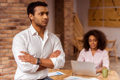 Attractive Afro-American couple working Stock Image