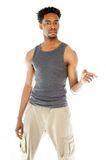 Attractive afro-american man posing in studio Stock Images