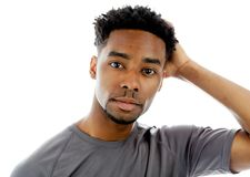 Attractive afro-american man posing in studio Stock Photo