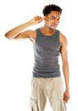 Attractive afro-american man posing in studio Stock Images