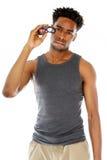 Attractive afro-american man posing in studio Stock Image