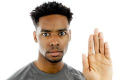 Attractive afro-american man posing in studio Stock Photos