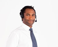Attractive afro-american working with headset Royalty Free Stock Photo
