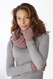 Attractive afro woman in winter clothes Royalty Free Stock Photography