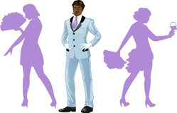 Attractive afroamerican man with corps de ballet. Attractive afroamerican man in luxury stripped costume with female corps de ballet dancers silhouettes retro Royalty Free Stock Photography