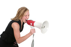 Attractive Aggressive Blonde Business Woman 4. Attractive young executive business woman making her point really clear with the aid of a megaphone Stock Photography