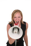 Attractive Aggressive Blonde Business Woman 5. Attractive young executive business woman making her point really clear with the aid of a megaphone Stock Photos
