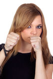 Attractive aggressive woman with black shirt Royalty Free Stock Photo