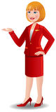 Attractive air hostess in red uniform Royalty Free Stock Photos