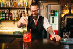 Attractive alcoholic drink preparation show Royalty Free Stock Photography