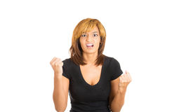 Attractive angry irritated woman raising fists at the camera Stock Photo
