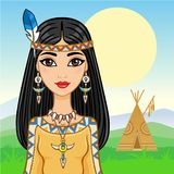 The attractive animation girl in clothes of the American Indian. Background - a mountain landscape. Vector illustration Stock Images