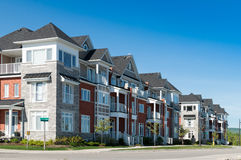 Attractive apartment buildings. Colorful townhomes / low-rise apartment buildings Stock Photo