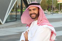 Attractive Arabic man with copy space