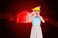 Attractive architect shouting at camera Royalty Free Stock Image