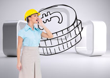 Attractive architect yelling Royalty Free Stock Photography
