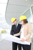 Attractive Architects on Construction Site Royalty Free Stock Images