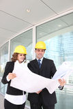 Attractive Architects on Construction Site Royalty Free Stock Photos