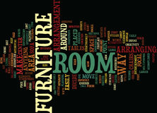 Attractive Arrangement Of Your Furniture Enhances Your Room Word Cloud Concept. Attractive Arrangement Of Your Furniture Enhances Your Room Text Background Word Royalty Free Stock Images