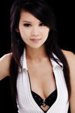 Attractive Asian American Woman Open Top Cleavage Stock Images