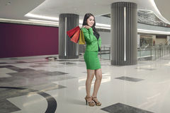 Attractive asian business woman with shopping bag Stock Images