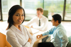 Attractive Asian Business Woman Stands Meeting Royalty Free Stock Photos