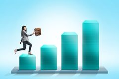 Attractive asian businesswoman with briefcase walking on the 3D chart stock image