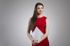 Attractive asian businesswoman in red dress Royalty Free Stock Photos