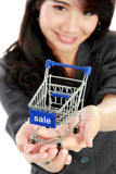 Attractive asian businesswoman with shopping cart Stock Photo