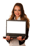 Attractive asian caucasian woman holding a laptop Stock Photo