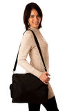 Attractive asian caucasian woman student  with briefcase Royalty Free Stock Images